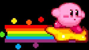 Kirby on a warp star