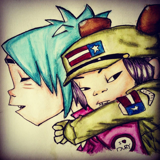 2D and Noodle - Gorillaz by AmbersArts