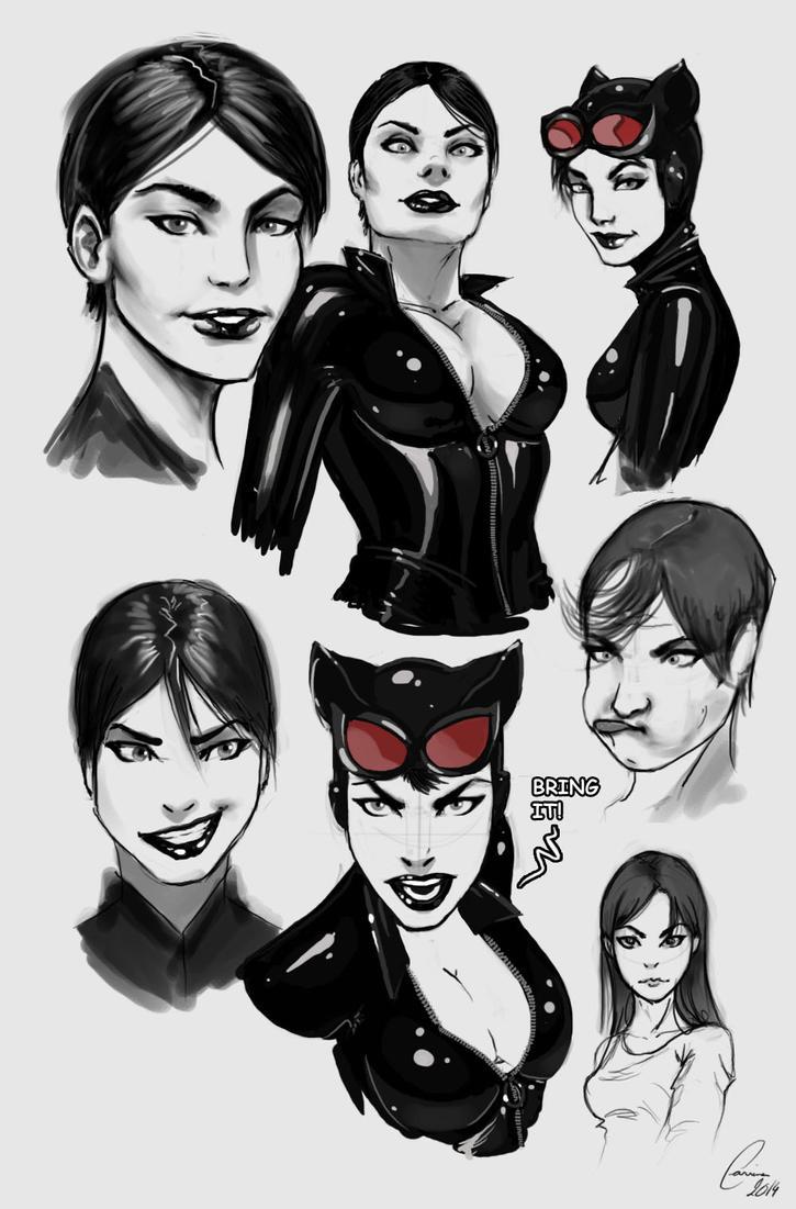 Cat Woman Doodles by ArtWarrior25