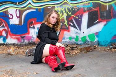 thigh high red boots by RaginCajun420