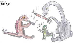 Dinosaur Alphabet - W
