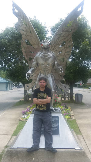 Myself standing next to The Mothman Statue