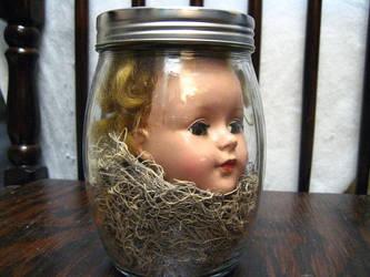 Dolls Head in Jar by IntuitiveMoth