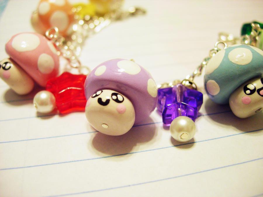 Rainbow Mushroom Bracelet by pinkDudu
