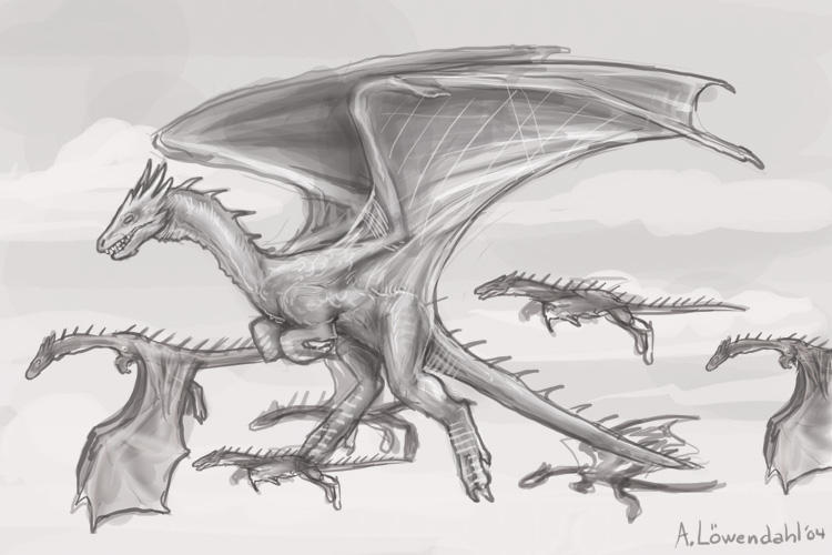 Awesome flying dragon drawings