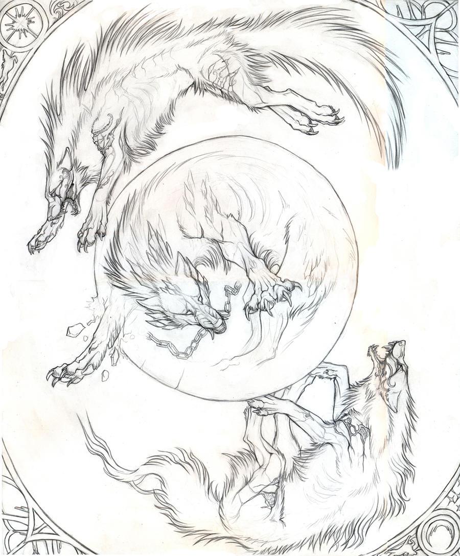 Lineart Wolf Tattoo : Original ragnarok by exileden on deviantart