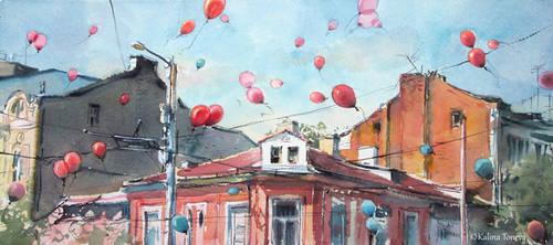 Red balloons by kalinatoneva