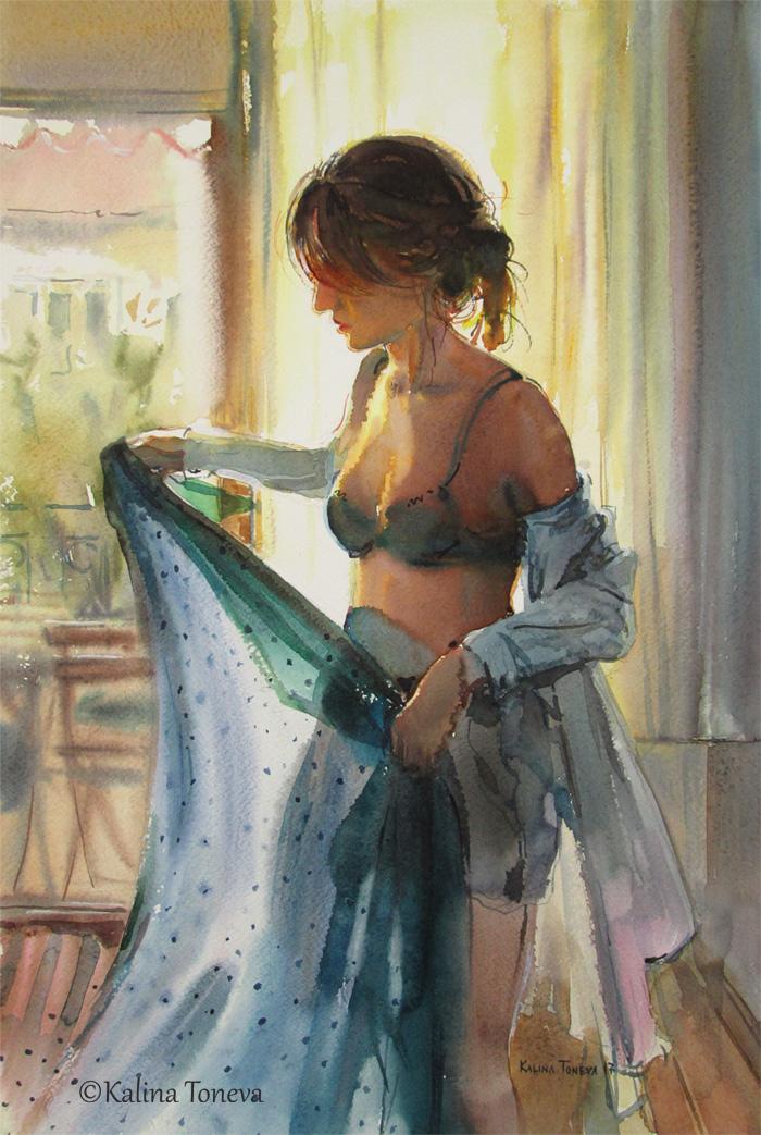 The blue scarf by kalinatoneva