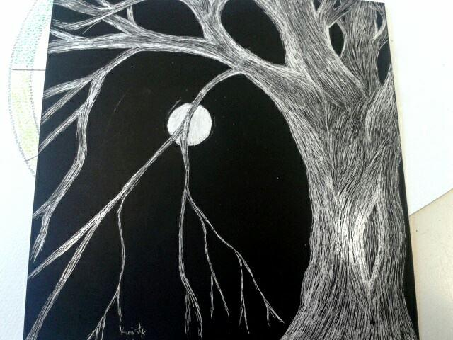Scratch Board Tree By FlameRiverAlchemist