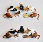 Set of 6 Dime Rats ~ Shi1227 Commission