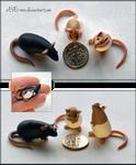 Set of 3 Dime Rats ~ SailorUsagiChan Commission