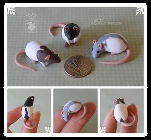 Set of Three Dime Rats ~ RJ Commission