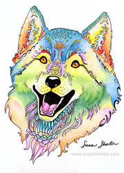Happy Wolf by bookstoresue