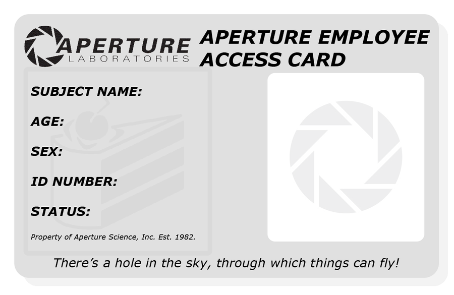 Aperture Employee Card Blank by MakiTak on DeviantArt – Blank Id Card Template