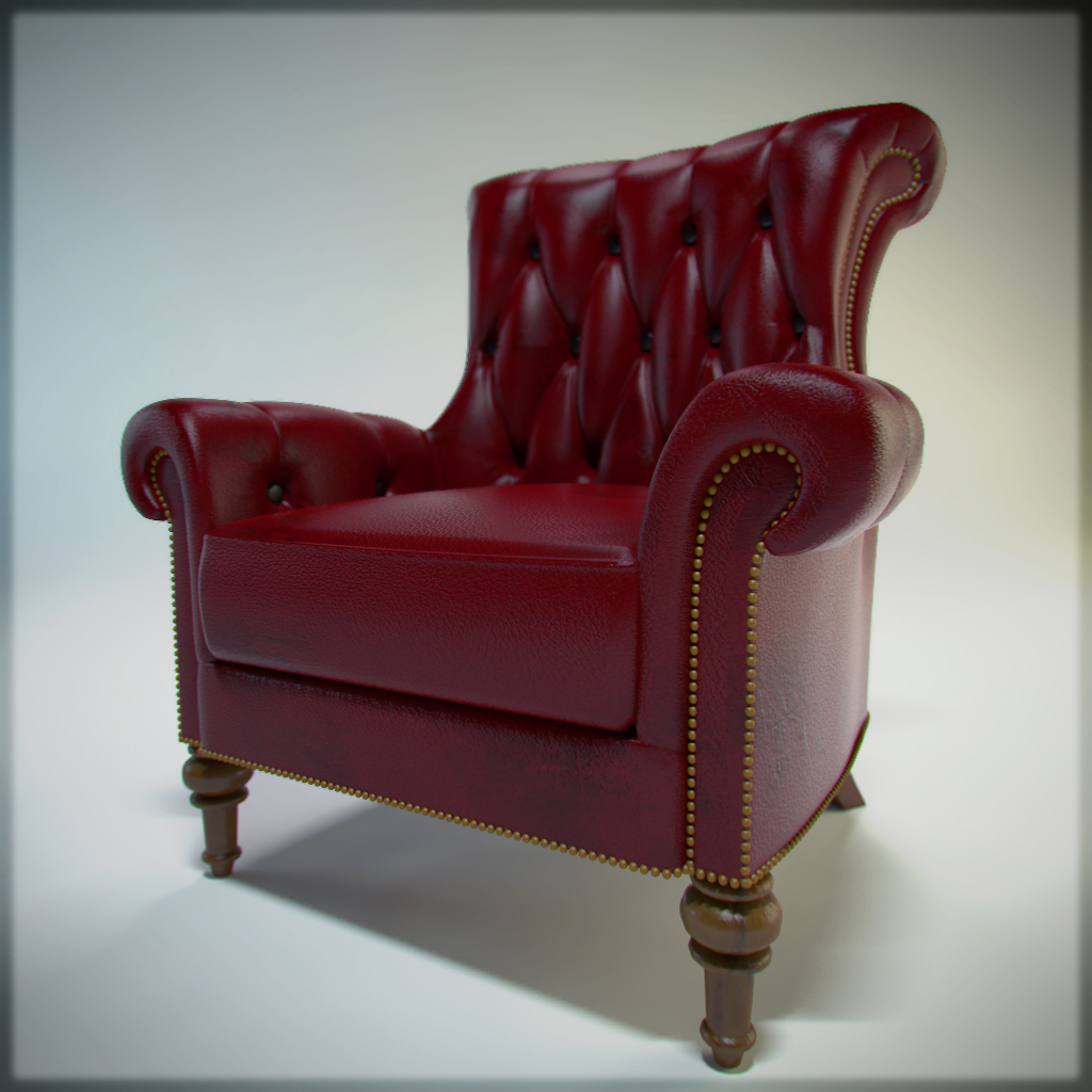 Red Leather Armchair By SpawnV2 Red Leather Armchair By SpawnV2