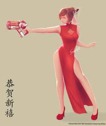Mei fanart (Overwatch) Chinese newyear by Sahlea