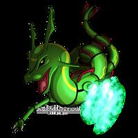 Rayquaza uses Dragon Claw by Kiriko-Windgeist