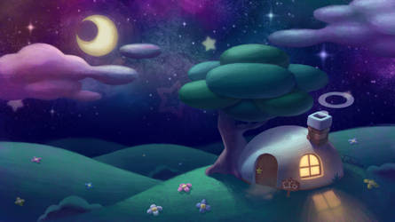 Nighttime in Dreamland - Kirby's House by Takeshre
