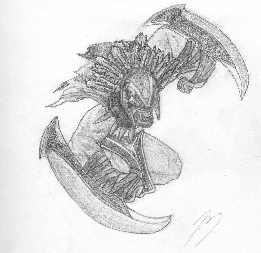 bloodseeker dota 2 freehand drawing by nightshayde11 on deviantart