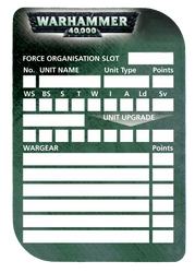 40k Roster Template