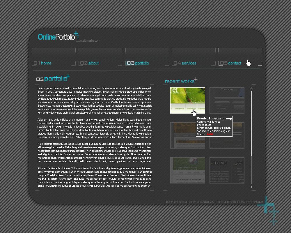 Online Portfolio layout by JollyJoker1411