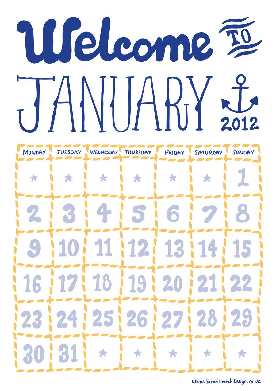 January Calendar Design : January free calendar days by sarah hextall design