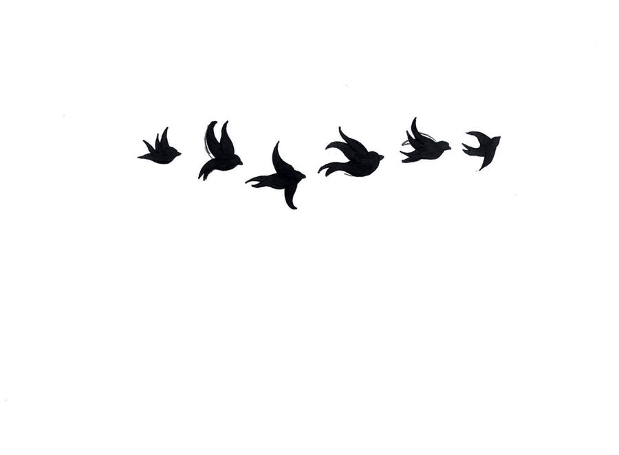 small tribal bird tattoo tattoo! my silhouette Sarah Design of the first draft Hextall bird by