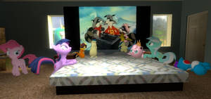 Ponys watch Christmas Raccoons
