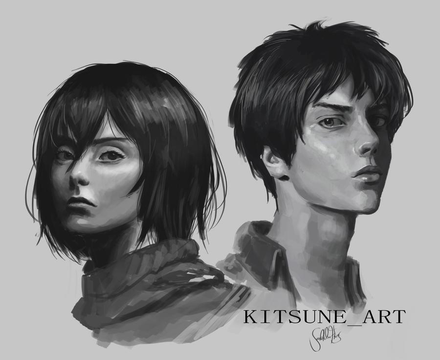 Eren And Mikasa By Kitsunesan Art On Deviantart