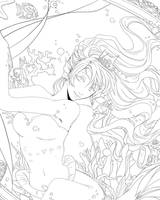 Lineart - The Mirror by Kuru-da-Bunbun