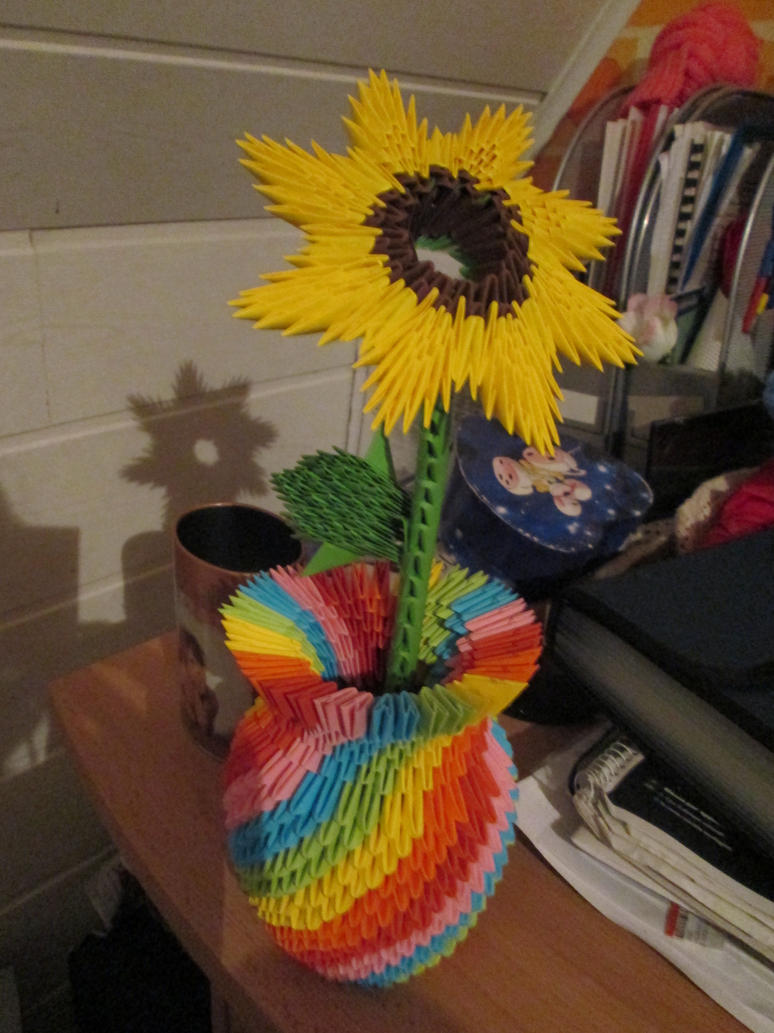 3d origami rainbow vase with sunflower by vanjuschka on deviantart 3d origami rainbow vase with sunflower by vanjuschka jeuxipadfo Gallery