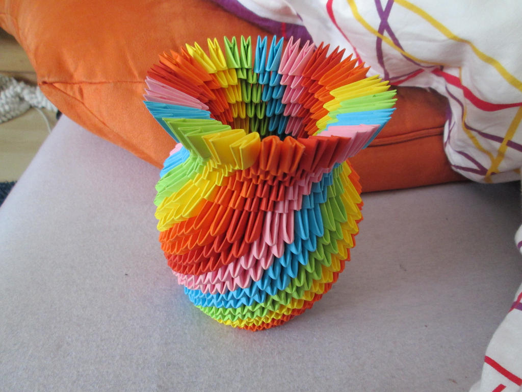 3d origami pieces choice image craft decoration ideas 3d origami rainbow vase by vanjuschka on deviantart 3d origami rainbow vase by vanjuschka jeuxipadfo choice reviewsmspy