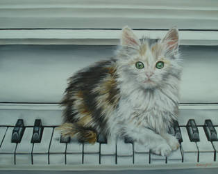 Cat on piano by AlitaHime