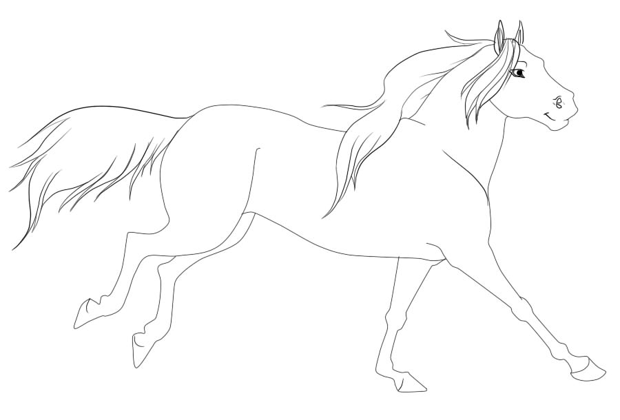 Running horse drawing easy - photo#11