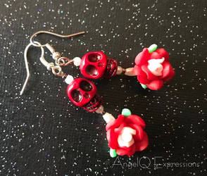 El Dia de los Muertos Skull and Roses Earrings by SpellsNSpooks