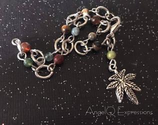 Leafy Green Cannabis Stone Bracelet by SpellsNSpooks