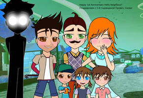 Happy 1st Anniversary Hello Neighbour Wallpaper by Pinky-Beret