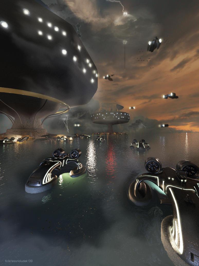 sea docks scene by krassnoludek