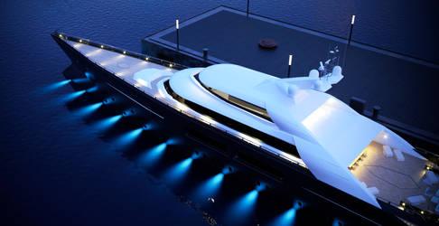 megayacht 3d model - night 01