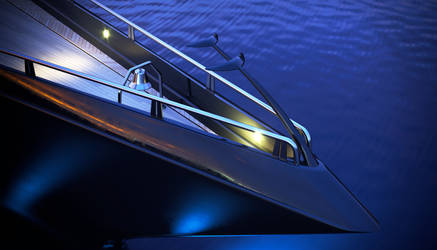 megayacht 3d model - night detail front
