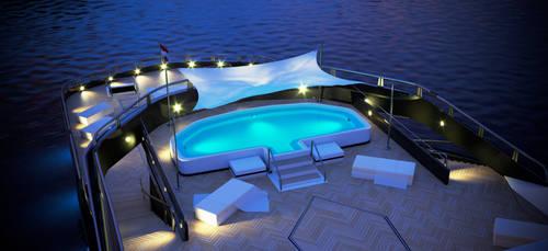 megayacht 3d model - night detail pool