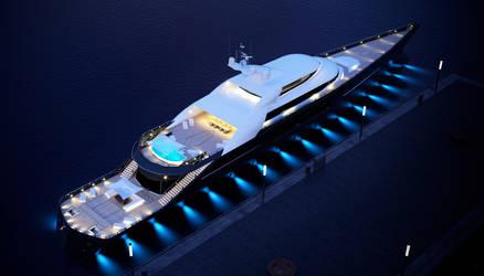 megayacht 3d model - night birdview