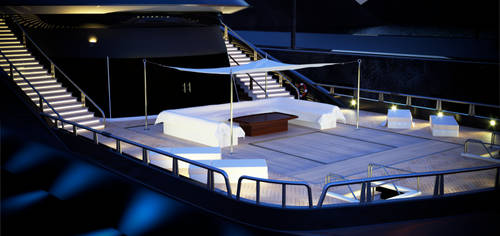 megayacht 3d model - night detail lower deck