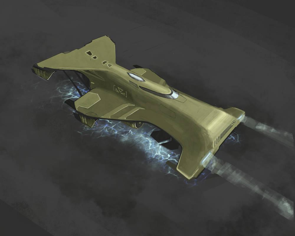 Retro futuristic ship by krassnoludek