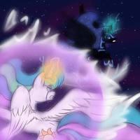 Celestia vs night mare moon by Neko-Snicker