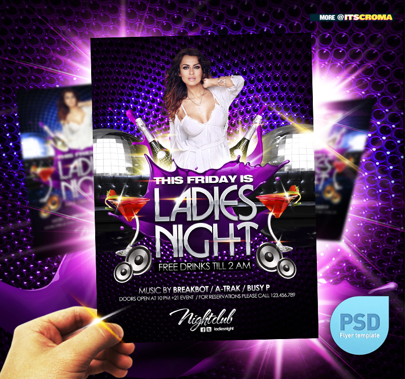 PSD Night Club Party Flyer Ladies Night by itscroma on DeviantArt – Night Club Flyer
