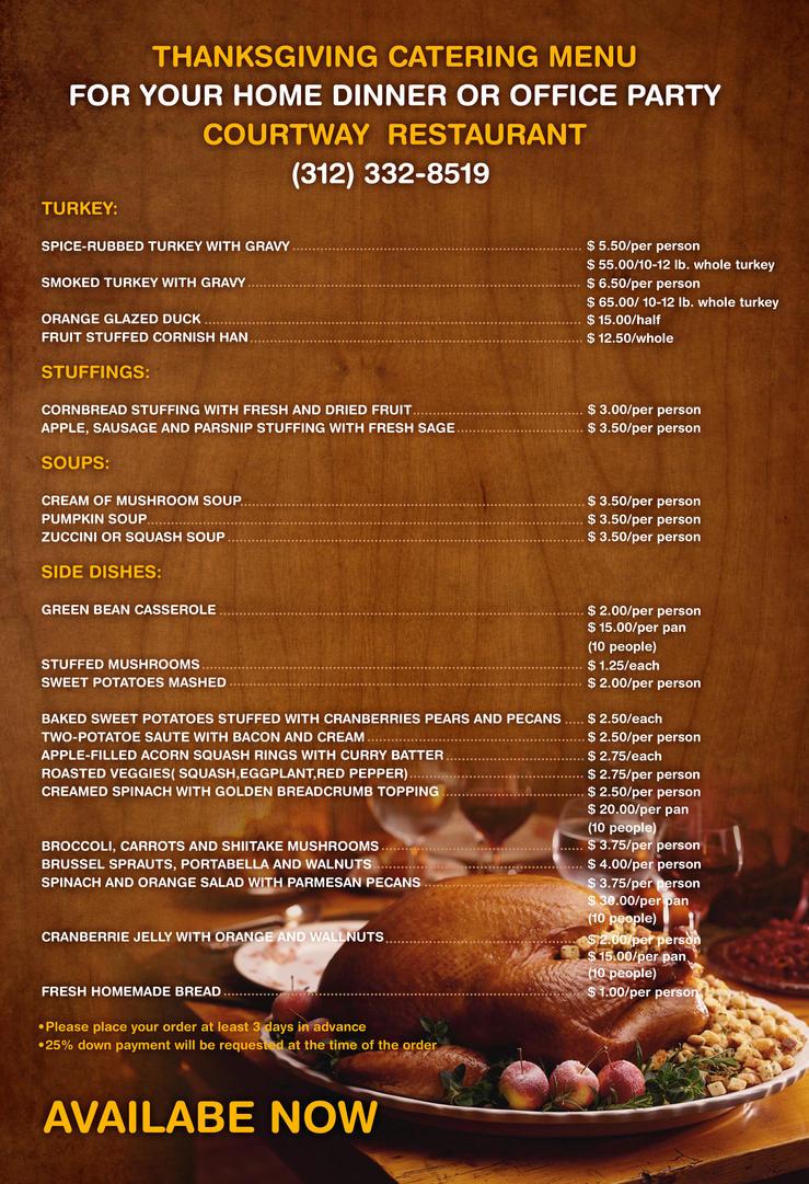 Thanksgiving Menu Restaurant