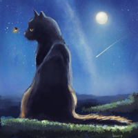 A cat and a firefly by Wawery