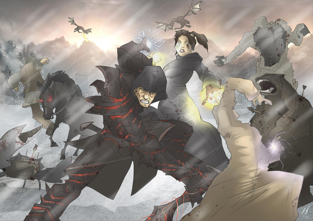 Skyrim- My 2 Dragonborns by MatthewHogben