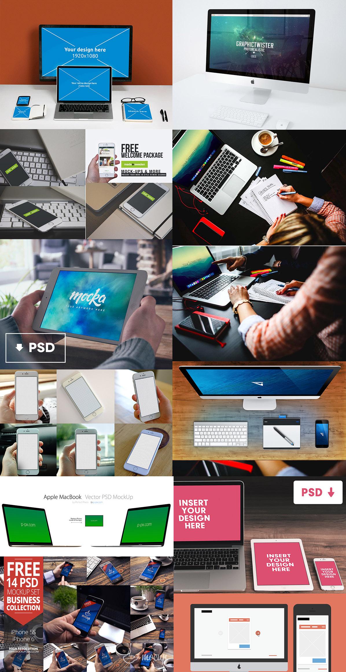 22 Free Apple Device PSD Mock-up Templates